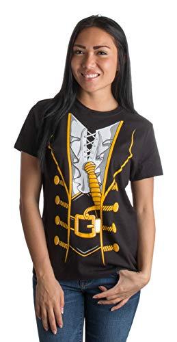 Damen T-Shirt mit großem Print vom Piratenkostüm - ideal als lustige Halloween-Verkleidung - L (Aus Schauspielerin Halloween)