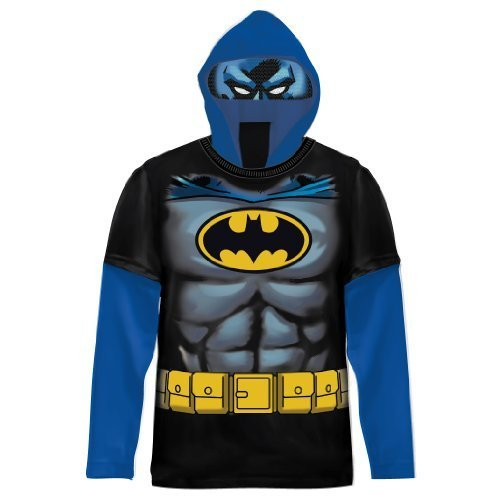 DC Comics Batman Jungen Schwarz Kostüm T-shirt with Hood (Jungen 14/16)