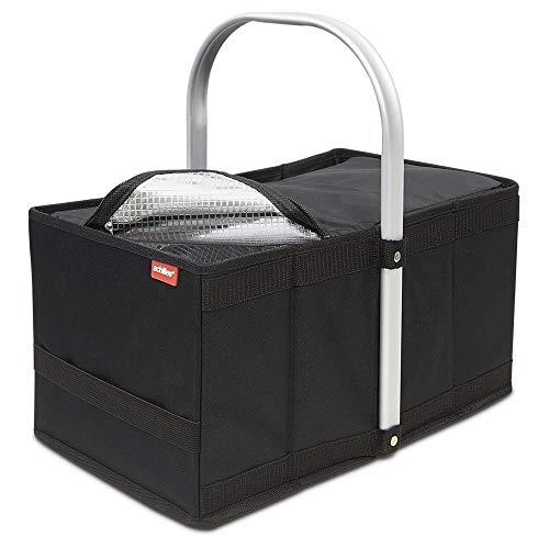 achilles Handle-Box cool, Einkaufskorb mit Kühleinsatz, Faltkorb mit Aluminium Griff, Kühlkorb in schwarz, 40 cm x 24 cm x 20 cm