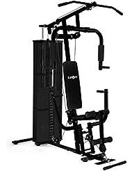 Klarfit Ultimate Gym 3000 Fitnessstation Krafttraining (multifunktionales Fitnessgerät, Butterfly-Modul, Klimmzugstange, Beinstrecker, Seilzug, verstellbare Gewichte, Stahl, Kunstleder)