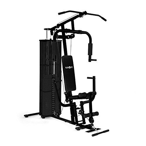 Klarfit Ultimate Gym 3000 Fitnessstation Heimtrainer (Butterfly-Modul mit Brustpresse, Lat-Zug, Seilzug und Beinstreckervorrichtung) schwarz