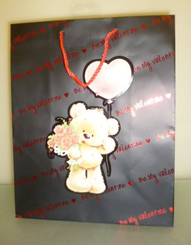 33 x 26.5cm Be My Valentine - Valentines Day Large Gift Bag With Bear (MI149B)