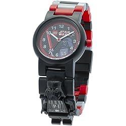 Reloj modificable infantil con figurita de Darth Vader de LEGO Star Wars; negro/rojo; plástico; 28 mm de diámetro; Cuarzo analógico| chico chica; oficial