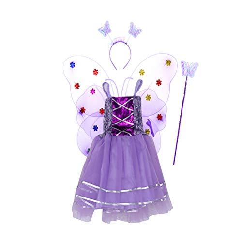 Amosfun 4 stücke Mädchen Fee Prinzessin Kostüm Set Leuchten Schmetterlingsflügel Wand Stirnband Tutu Rock Party Kostüm Set Lila (Tinkerbell Kostüme Make Up)