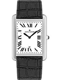 Alpha Saphir re 342B - Reloj de caballero de cuarzo, correa de piel color negro