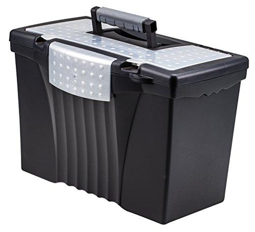 STOREX Tragbare Datei Box mit Organizer Deckel, 43,5x 24,5x 27,9cm, Letter/Legal, Schwarz (61510u01C)