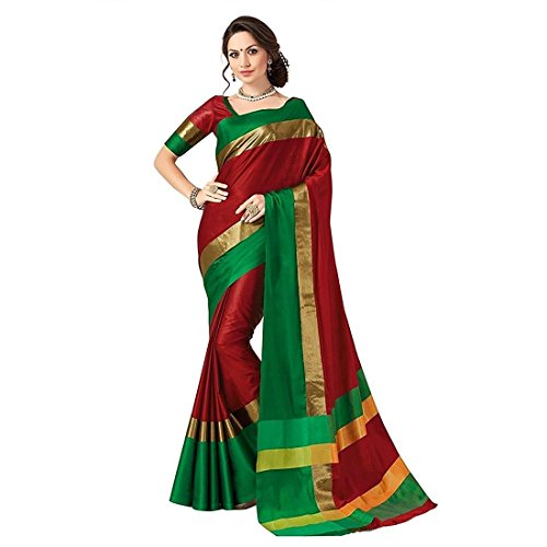 Indira Designer Women's Maroon Color Cotton Silk Plain Saree With Blouse