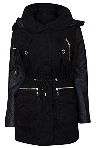 Ambergloss da donna con cappuccio parka giacca in ecopelle trapuntata maniche cappotto black 44