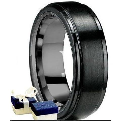 Negro anillo de tungsteno - nuevo en 7 mm para hombre color negro cepillado de centro de boda anillo de compromiso de carburo de tungsteno - tamaño de v/W (disponible en la mayoría de los tamaños)