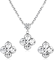 Sllaiss 925 Sterling Silver Daisy Flower Crystal Necklace Earrings Set for Women Crystals from Swarovski, Four