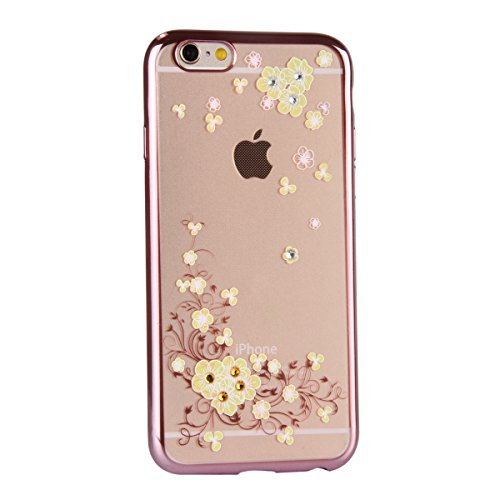iPhone 6S Plus Hülle, iPhone 6 Plus Hülle, iPhone 6S Plus Silikon Hülle Rose Gold Tasche Handyhülle [Kratzfeste, Scratch-Resistant], iPhone 6 Plus TPU Gel Bumper Case Weiches Transparent Silikon Schut Gelbe Begonien-Blumen