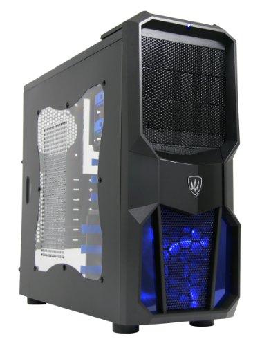 CiT - Case Neptune per PC Gaming, ventola 12 cm con LED blu, finestra laterale, alloggiamenti blu senza viti