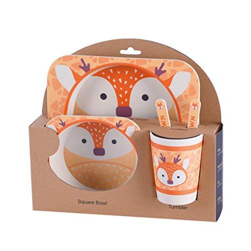 Preisvergleich Produktbild Busirde Kinder-Geschirr-Set 5er Baby-Bambusfaser-Cartoon Bowl Tier Geschirr Set Kleinkind-Cup-Löffel-GabelSika Rotwild
