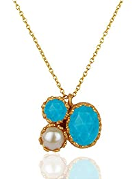 Christmas Gifts - Jewel Cartel 92.5 Sterling Silver Gold Pendant & Chain For Women (JCPEDW-460)