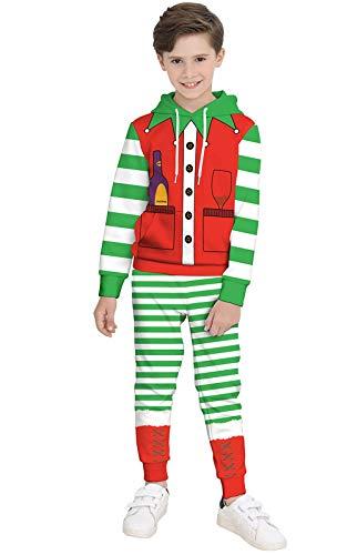Perfectii Unisex Clown Kostüm Hoodies Set, Jungen Mädchen Weihnachtskleid-Up Outwear Xmas Langen Ärmel Taschen Pullover