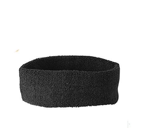 Stirnband Headband Kopfband Knitband Schweißband schwarz rot weiß Stirnbänder Tennis Squash Badminton Fitness (Schwarz) (Headband Tennis)