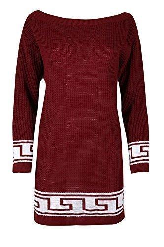 Damen Kleid Top grob gestrickt griechischer Aufdruck schulterfrei Bardot Baggy Übergröße langer Pullover - Wein/weiß, Übergröße (EU (Muster Griechische Kleid)