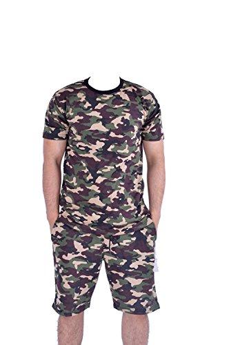 Kids's Army Camouflage Printed Cap Sleeve Unisex Crop Top & Shorts 7-13 Yrers (Sleeve Cap Crop)