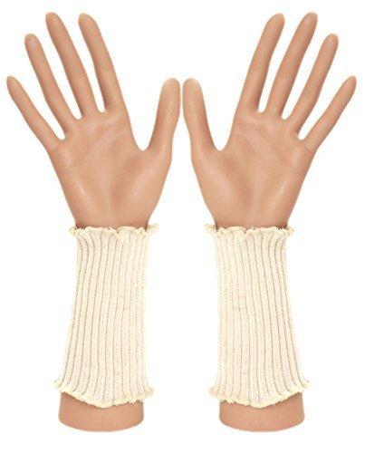 Für Sportliche Frauen Armstulpen (Pulswärmer Armstulpe 100% Alpaka ca. 13 cm, Farben alle:rohweiß;Größe:one size)