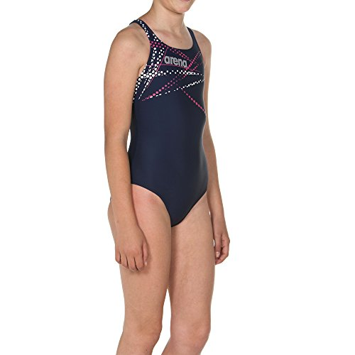 arena Mädchen Sport Badeanzug Glimmer (Schnelltrocknend, UV-Schutz UPF 50+, Chlor- /Salzwasserbeständig), Navy-Aphrodite (709), 152