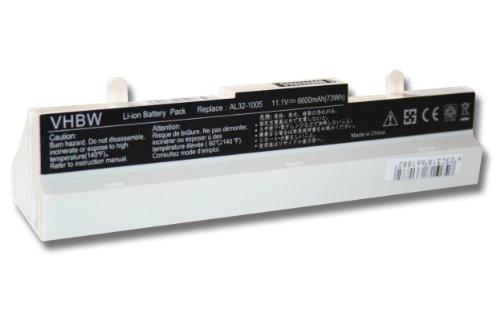 vhbw Li-Ion Akku 6600mAh (10.8V) weiss für Notebook, Laptop Asus Eee PC 1005P, 1005HA, 1001P, R101, R101D, R101PX, R101X, R105, 1001PQD, 1001PX.
