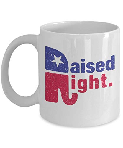 Raised Right Coffee Mug Cup (White) 11oz Conservative Republican Party Elephant Gifts Merchandise Accessories Shirt Sticker Decal Art Decor -