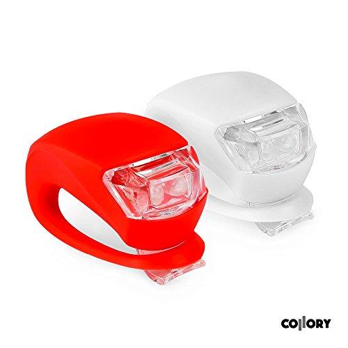 Preisvergleich Produktbild Collory mini LED Silikon-Leuchte 2er-Set inkl. Batterien | Kinderwagen-Beleuchtung | Rollstuhl-Licht | Blink-Lampe | Sicherheitsbeleuchtung | Wasserfest | einfache Montage: Clip-On