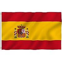 Anley Fly Breeze 90 x 150 cm Bandera España - Colores Vivos y Resistentes a Rayos UVA - Bordes Reforzados con Lona y Doble Costura - Nacional Española Banderas Poliéster con Ojales de Latón