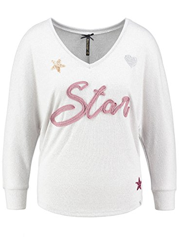 Key Largo Damen Langarmshirt WLS STAR Longsleeve Stern Herz Heart Stickerei Glitzerlook Off White