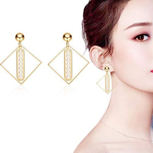 Figuras de primavera de estilo europeo y americano incrustadas con pendientes de perlas geométricas de verano.