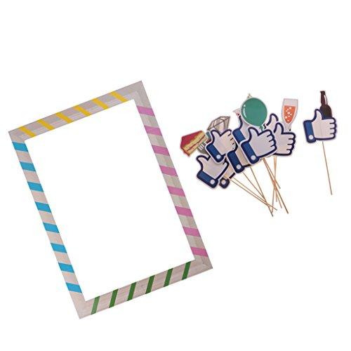Sharplace Photo Booth Cornice Per Selfie+10 Pezzi Foto Props Mano Con Bicchiere Rosa Decorazioni Per Matrimonio Laurea