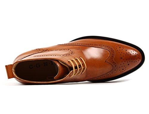 Scarpe Uomo in Pelle Scarpe da uomo in pelle Scarpe alte Scarpe da lavoro corto Martin Stivali in pizzo stile inglese ( Colore : Red-brown , dimensioni : EU 41/UK7 ) Brown Yellow