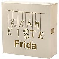 Preisvergleich für Kramkiste 25 x 25 cm als Geschenkidee - Holzbox mit Gravur - Motiv Buchstabenallerlei