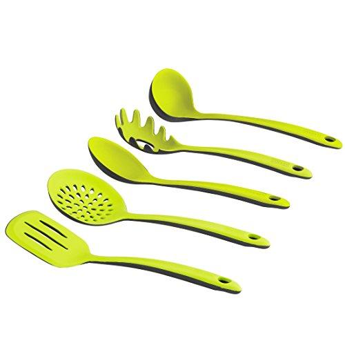 Levivo Silikon Küchenhelfer-Set / 5-teiliges Küchenbesteck-Set, bestehend aus Pfannenwender, Schaumlöffel, Suppenkelle, Spagettilöffel, Soßenlöffel, hellgrün/schwarz