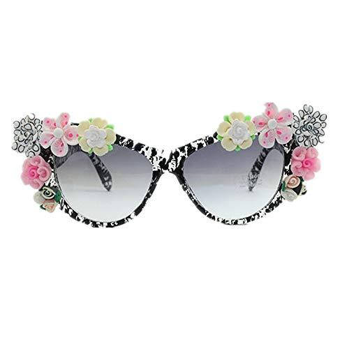 XHCP Frauen Klassische Sonnenbrille Bunte handgemachte Polymer Clay Flower Lady 's Sonnenbrille Cat Eyes Beach Sonnenbrille für den Sommer UV-Schutz Sonnenbrille