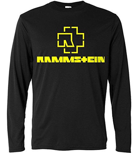 T-shirt a manica lunga Uomo - Rammstein - yellow print - Long Sleeve 100% cotone LaMAGLIERIA, L, Nero