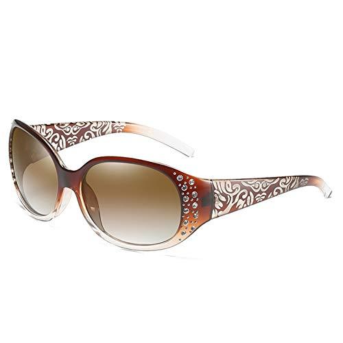 Taiyangcheng Polarisierte Sonnenbrille Vintage Mode Retro Polarisierte Sonnenbrille Damen Shades Diamant Sonnenbrille Weibliche Trendy Geschnitzte Beine Uv400,Braun
