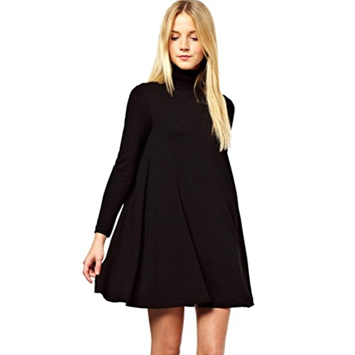 OverDose Damen Rollkragen Polo Rollkragen Langarm Swing Skater Dress Casual Blusenkleid Shirt Bluse Mini Dress(A-Black ,EU-34/CN-S) (Verschönert Bandeau)