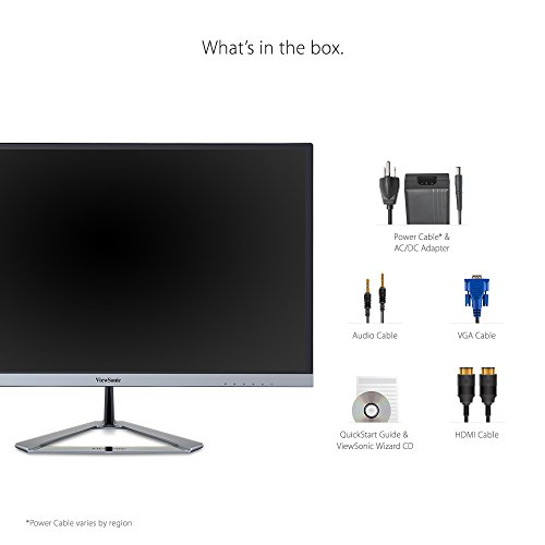 ViewSonic VX2776 SMHD 27 inch extensive HD Frameless IPS monitor very lean bezel VGA HDMI DisplayPort sound system Silver Products
