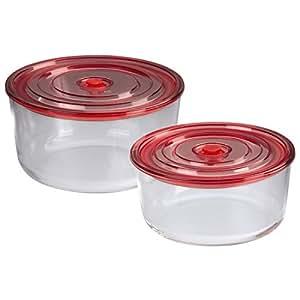 Xavax 111530Plat à gratin rond/boites de conservation, couvercle avec joint en silicone, Passe au Lave-Vaisselle, au micro-ondes, résistant au four, Hermétique, Lot de 2, verre