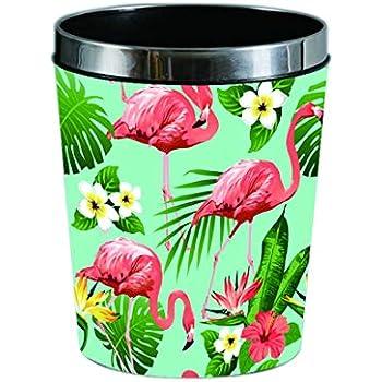Batop Papierk/örbe 12L PU Leder Flamingo Motif Papierk/örbe M/ülleimer Abfalleimer M/üllsammler Papierkorb mit Metall Pre/ßring