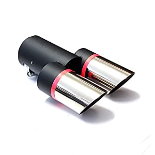 Akhan ER030 - Edelstahl Auspuffblende Endrohr zum anschrauben Maße: L=2x105 B=50mm