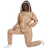 NATURAL APIARY - Apiarist Beekeeping Suit - Sand - (All-in-One) - Fencing Veil - Total Protection for Professional & Beginner Beekeepers - 3X Large