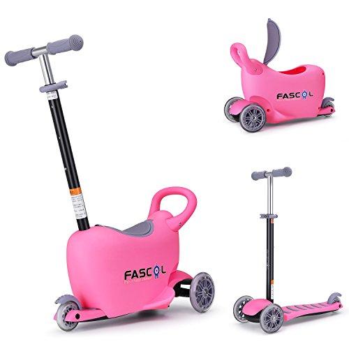 Fascol 3 in 1 Kinder Roller 3 Rad Scooter mit Sitz, Kinderkoffer, Lauflernhilfe, Laufrad ab 1- 10 Jahren, Belastbarkeit bis 50 kg, Rosa (Slip-roller)