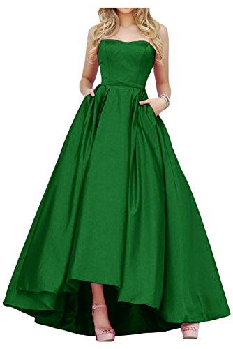 Gorgeous Bride Einfach Traegerlos Hi-Lo Satin Lang Abendkleid Promkleid Abendmode Grün