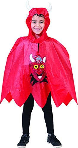 Confettery - Kinder Karneval Halloween kleiner Teufel Poncho für Mädchen & Jungen, Onesize, 4-7 Jahre, (Kostüme Zombie Mädchen Kleines The Walking Dead)