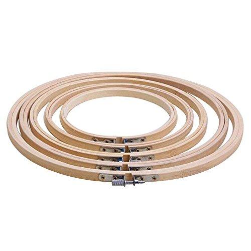 Haobase 5 Größe/Set Stickrahmen Rahmen 13/17/20/23/26 cm Bambus Holz Stickerei Hoop Ringe für DIY Kreuzstich Needlecraft Werkzeug (Schnelle Stickerei Frames)