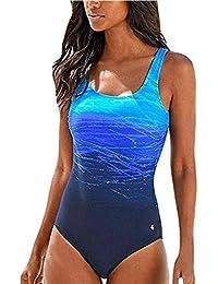 ZIYYOOHY Damen Badeanzug Bauchweg Einteiler Rückenfreie Figurformend Raffung
