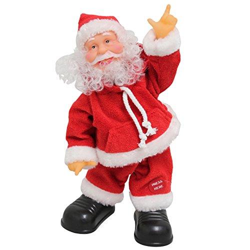Babbo natale che canta e balla 31cm - decorazione natalizia modellino musicale di santa claus che si muove natale santa claus - babbo natale che canta e balla della ditta [lux.pro]