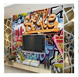 Salón de papel tapiz de pared personalidad graffiti letras dimensionales cafe bar KTV que cubre la pared murales papel de pared 3D decoracion,LF810,Tamaño personalizado